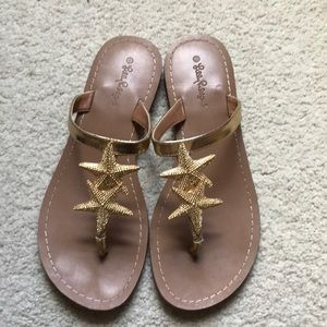 Gold starfish Lilly Pulitzer for Target sandals